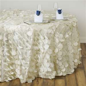 "SNR EVENT RENTAL 120"" Fancy IVORY Wholesale Taffeta Round Petal Tablecloth 4999"
