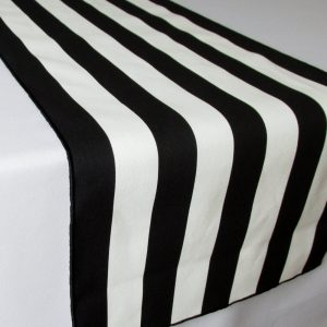 Black & White Striped Table Runner Polyester