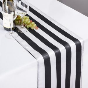 Black & White Striped Table Runner Satin