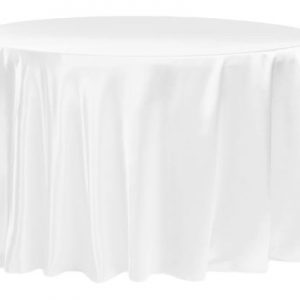 White Round Satin Tablecloth $8