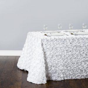 rosette rectangular tablecloth-white