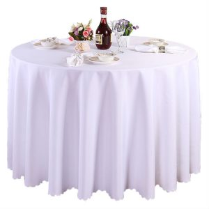 "SNR EVENT RENTAL 132"" WHITE Wholesale Polyester Round Tablecloth"