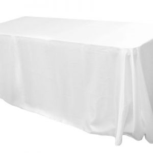 White Rectangular Satin Tablecloth $8